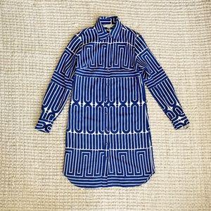 Trina Turk Blue Geometric Pattern Mini Dress